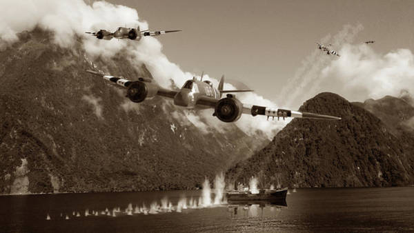 Royal Air Force Digital Art - Two Minutes Of Terror - Sepia by Mark Donoghue