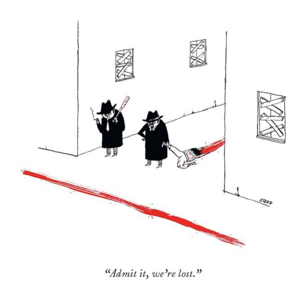 Murder Drawing - Two Mobsters Lost, Dragging A Dead Body And Leaving A Trail Of Blood. by Edward Steed