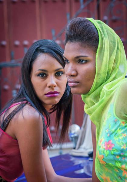 Photograph - Two Models Havana Cuba by Joan Carroll