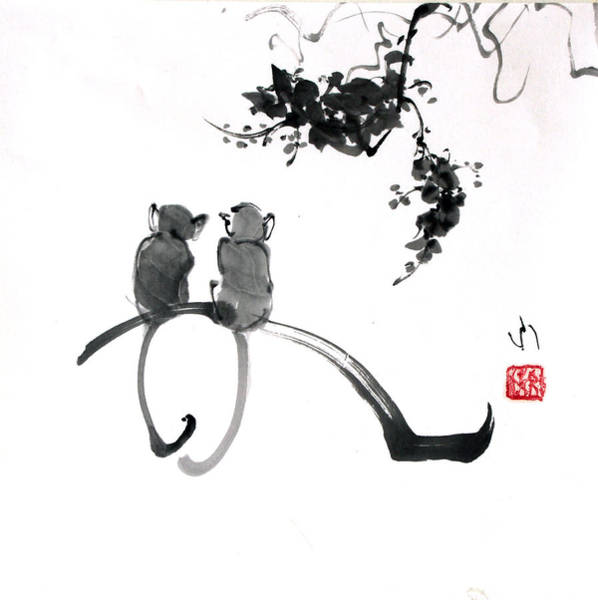 Painting - Two Monkeys by Fumiyo Yoshikawa