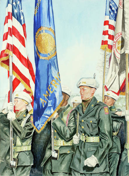 Marching Painting - Two Months After 9-11  Veteran's Day 2001 by Carolyn Coffey Wallace