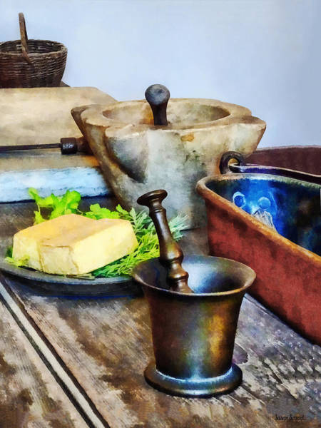 Photograph - Two Mortar And Pestles In Kitchen by Susan Savad