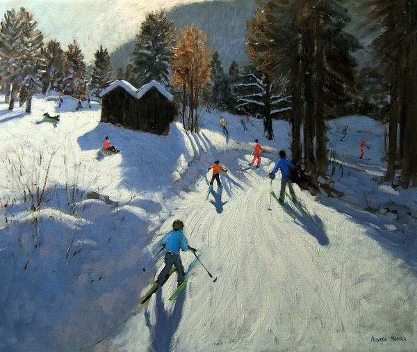Ski Tracks Wall Art - Painting - Two Mountain Huts by Andrew Macara