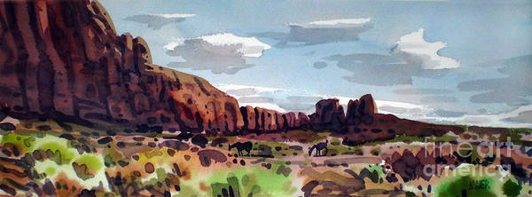 Monument Valley Painting - Two Mustangs by Donald Maier