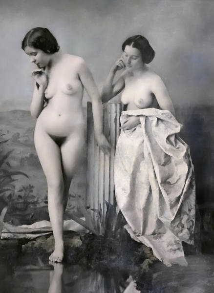 Queens Bath Photograph - Two Nude Victorian Women At The Baths C. 1851 by Daniel Hagerman