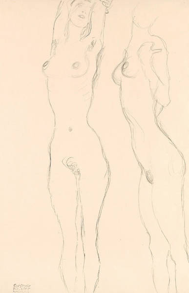 Drawing - Two Nudes The Left One With Raised Arms  by Gustav Klimt