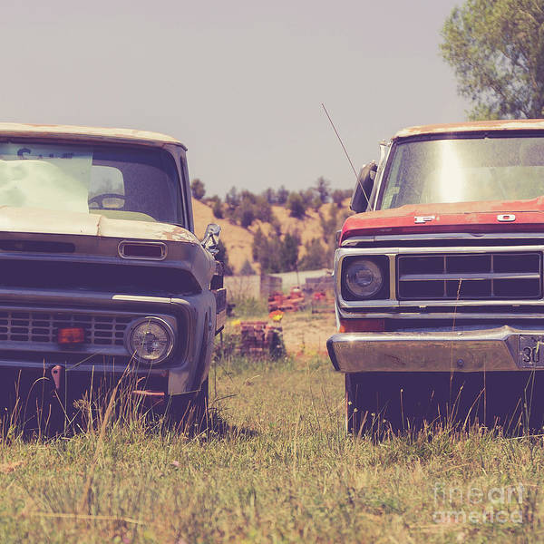 Wall Art - Photograph - Two Old Pickup Trucks Square by Edward Fielding