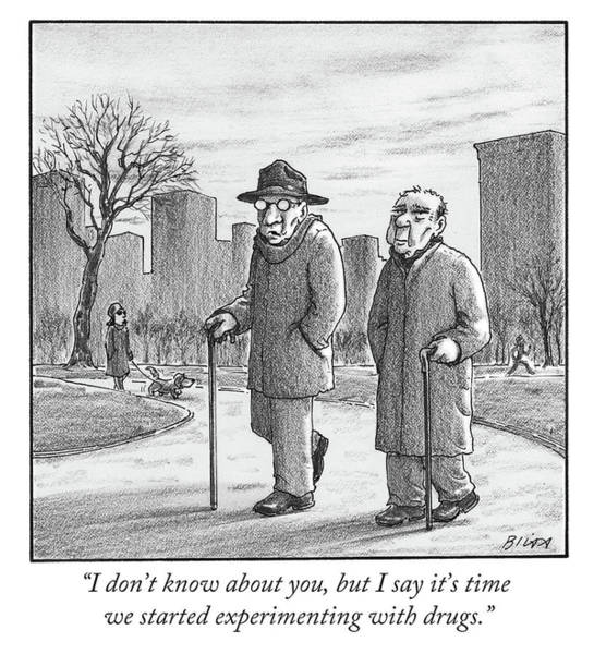 Old Drawing - Two Older Men Walk With Canes Through A Park. by Harry Bliss