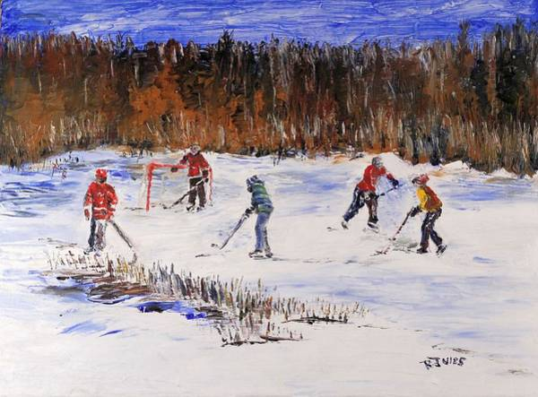 Painting - Two On Two On The Frozen Pond by Richard Jules