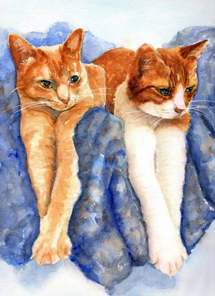 - Two Orange Tabby Cats by Carlin Blahnik CarlinArtWatercolor