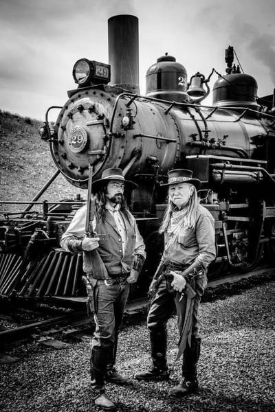 Gunfight Wall Art - Photograph - Two Outlaws And Steam Train by Garry Gay