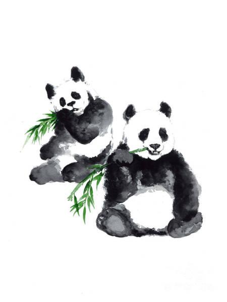 Panda Drawing Painting - Two Pandas Watercolor Painting by Joanna Szmerdt