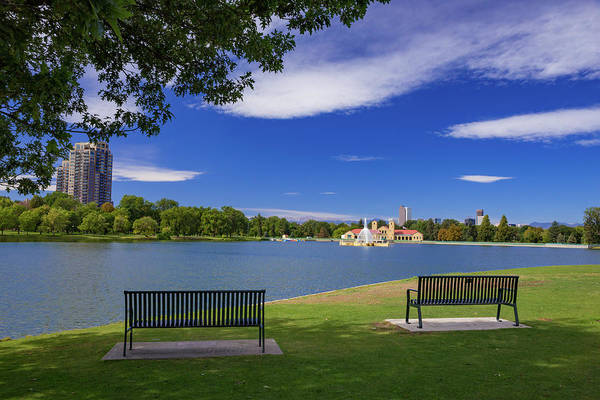 Wall Art - Photograph - Two Park Benches On A Summer's Day In Denver's City Park With Mo by Bridget Calip
