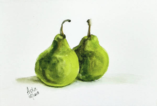 Painting - Two Pears by Asha Sudhaker Shenoy
