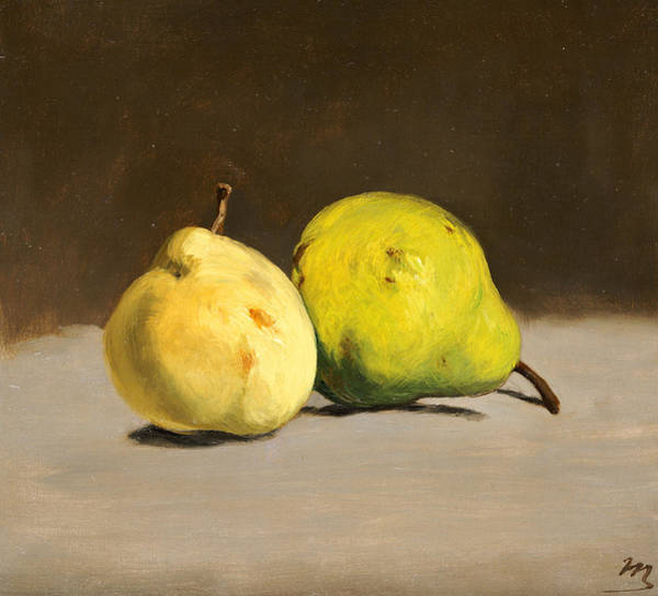 1864 Wall Art - Painting - Two Pears by Edouard Manet