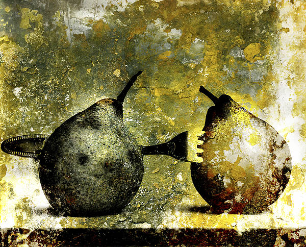 Rotten Wall Art - Photograph - Two Pears Pierced By A Fork. by Bernard Jaubert