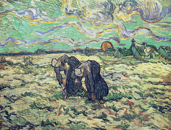 Forsythia Painting - Two Peasant Women Digging In Field With Snow, 1890   by Vincent Van Gogh