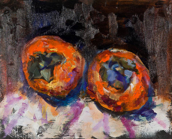 Painting - Two Persimmons by Maxim Komissarchik