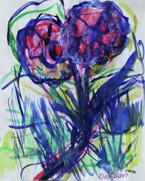 Mixed Media - Two Pink Flowers by Katt Yanda