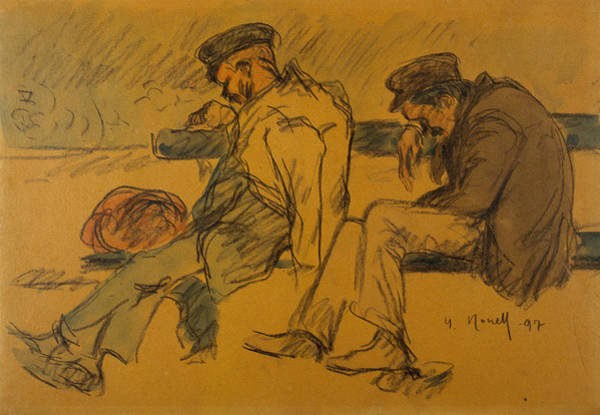 20th Century Man Drawing - Two Poor Men Sleeping by Isidre Nonell