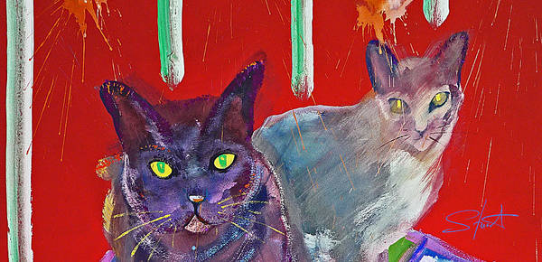 Two Posh Cats Art Print