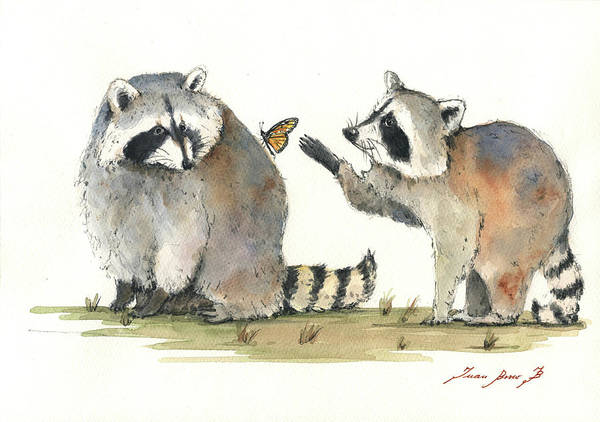 Wall Art - Painting - Two Raccoons by Juan Bosco