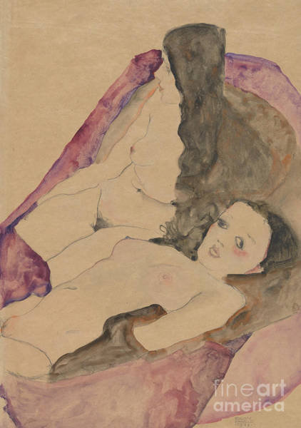 Painting - Two Reclining Nudes, 1911 by Egon Schiele