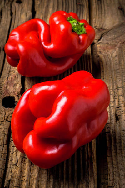 Bell Peppers Photograph - Two Red Bell Peppers by Garry Gay