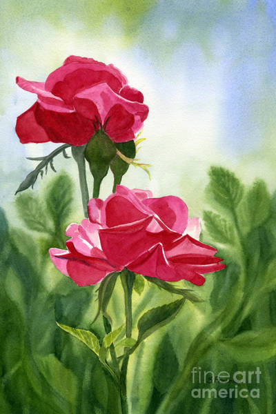 Red Rose Painting - Two Red Roses With Leafy Background by Sharon Freeman