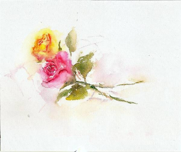Painting - Two Roses by Asha Sudhaker Shenoy