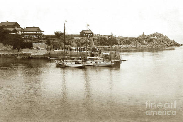 Photograph - Two Sail Boats At Pier At Lovers Point Beach Circa 1915 by California Views Archives Mr Pat Hathaway Archives