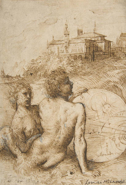 Drawing - Two Satyrs In A Landscape by Titian