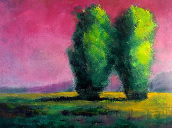 Wall Art - Painting - Two Sentinels Tree Portrait by Nancy Merkle
