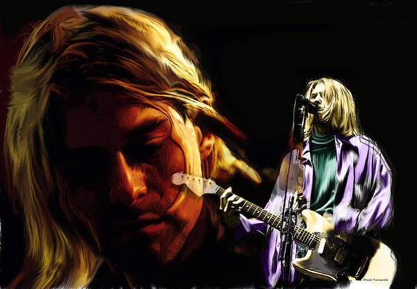 Painting - Two Shades  Kurt Cobain by Iconic Images Art Gallery David Pucciarelli