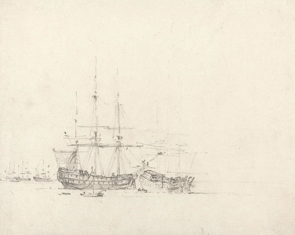 Drawing - Two Ships At Anchor by John Constable