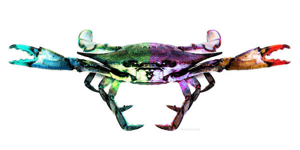 Painting - Two Sides - Duality Crab Art by Sharon Cummings