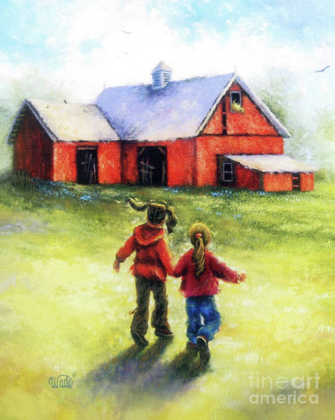 Wall Art - Painting - Two Sisters Happy At The Farm by Vickie Wade