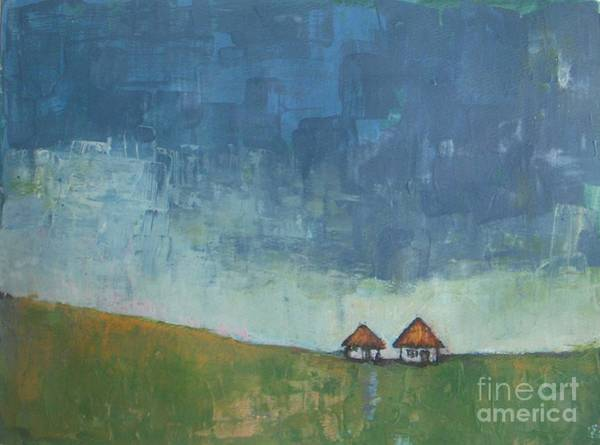 Antic Wall Art - Painting - Two Sisters Houses by Vesna Antic