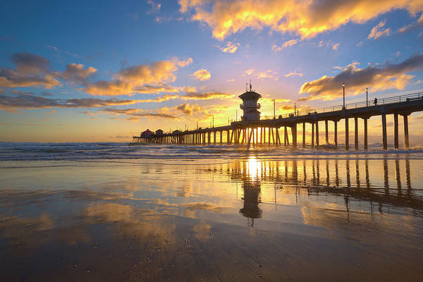 Huntington Beach Pier Photograph - Two Skies For The Price Of One by Brian Knott Photography