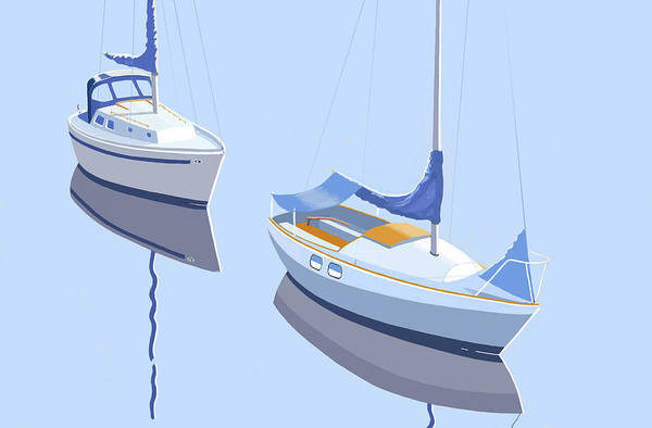 Sails Digital Art - Two Sloops by Gary Giacomelli