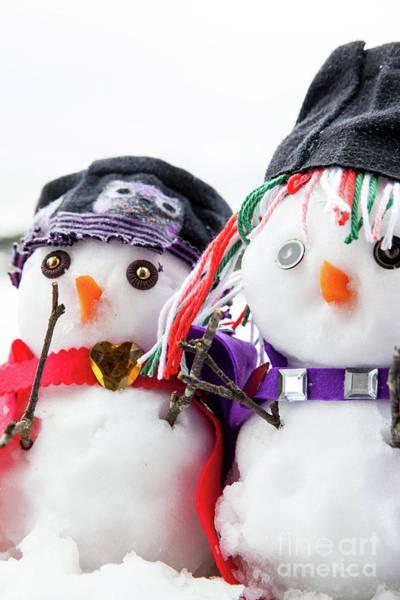 Purple Carrot Photograph - Two Stylish Snowmen Dressed Beautifully by Simon Bratt Photography LRPS