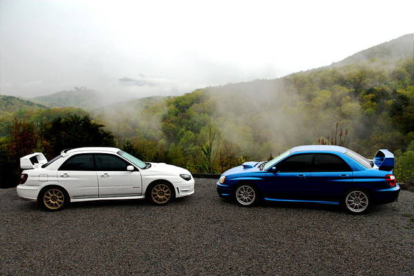 Wrx Photograph - Two Subarus In The Smoky Mountains by Erin Hissong