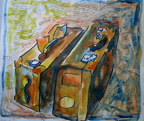 Painting - Two Suitcases With Financial Statements by Tilly Strauss