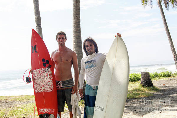 El Salvador Photograph - Two Surfers With Surfboards by Eyal Aharon