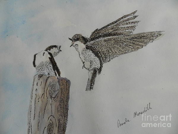 Wall Art - Painting - Two Swallows by Pamela Meredith