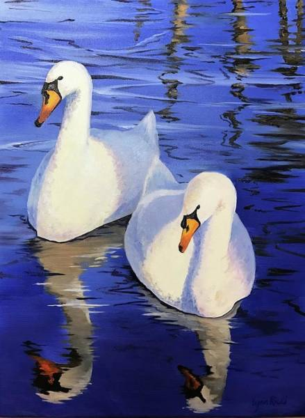 Mate For Life Painting - Two Swans by Lynn Ricci