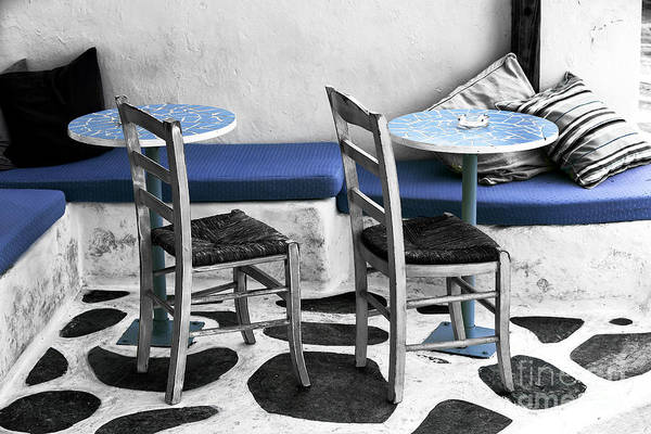 Wall Art - Photograph - Two Tables In Mykonos Fusion by John Rizzuto