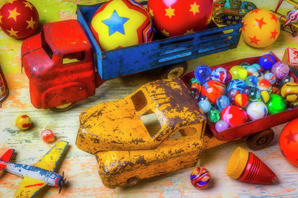 Dump Truck Photograph - Two Toy Trucks by Garry Gay