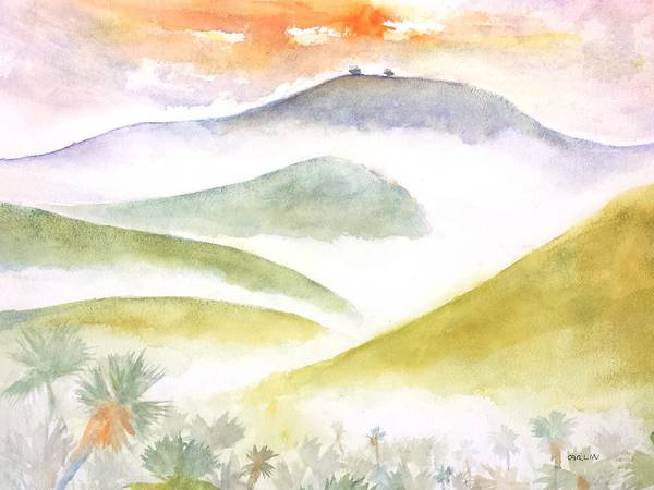 Rolling Hills Painting - Two Trees - Foggy Ventura Morning by Carlin Blahnik CarlinArtWatercolor
