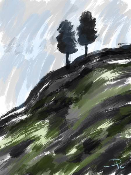 Wall Art - Digital Art - Two Trees On A Hill by David G Paul
